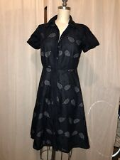 Ann Taylor Navy Shirt Dress Tennis Racquet Pattern 0P