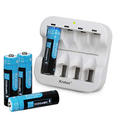 AA Rechargeable Battery 3500mWh 1.5V [4 battery&1charger], Fast Charge 1200 for
