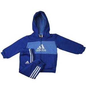 Adidas I Log FZHD J FL Blau Weiss Baby Jogger Set Kinder Sportanzug Jogginganzug