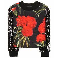 DOLCE & GABBANA Sequined Embellished Floral Brocade Sweater IT 44/ 8 U.S /12 UK