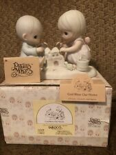 """Retired Precious Moments """"God Bless Our Home� Porcelain Figurine 1984 #12319"""