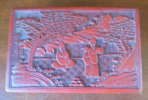 Vintage Chinese Carved Cinnabar 7X4½X 2½ Box Monks
