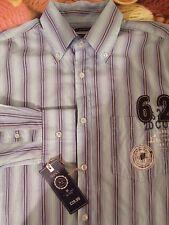 NEXT 'Brand 62' Men's Blue Mix Stripe L/S Casual Shirt Medium Cotton £29.99 BNWT