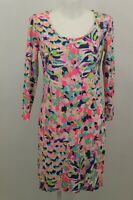 NEW  LILLY PULITZER WOMEN'S PIMA COTTON DRESS SIZE S COLOR PINK/BLUE LONG SLEEVE