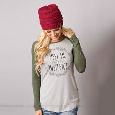 Women's Loose Tops Long Sleeve Pullover Casual Blouse Shirt XMAS T-shirt S-3XL