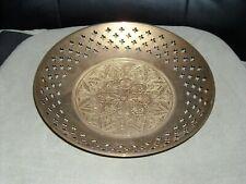 "9 5/8"" brass bowl with cross cutouts leaf flower basket weave design 2 1/4"" high"