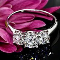 3 Stone Engagement Ring Solitaire 2 Ct Round Diamond Wedding Ring 14k White Gold