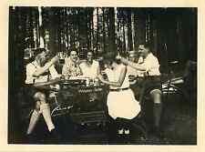 Pique nique en Bavière Vintage silver print Tirage argentique  9x11  Circa