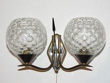 02C8 ANCIENNE APPLIQUE LAMPE MÉTAL DOUBLE MODERNISTE DESIGN ANNÉES 50 / 60 1950
