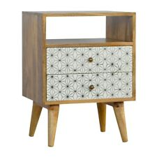 Mid Century Scandi Style Geometric Printed Two Drawer Bedside Table