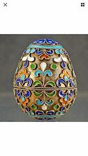 Antique Russian 925 sterling silver Cloisonné Enamel Decorative Egg Box