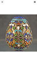 Antique Russian 925 sterling silver Cloisonné Enamel Decorative Egg Box