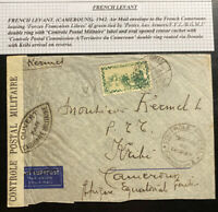 1942 Army Post Office French Levant Censored Airmail Cover To Kribe Cameroon