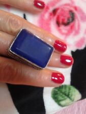 RING SIZE 9 SAPPHIRE   NATURAL   STONE  .SILVER HANDMADE ANTIQUE DESIGN