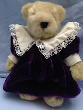 "Muffy Vander Bear 8"" Bear in Purple Velvet Party Dress and Bloomers"