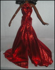 DRESS  BARBIE DOLL HOLIDAY MODEL MUSE 2017 METALLIC RED SPARKLY GOWN & STAR