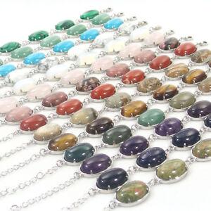"""natural gemstone loose beads 13x18mm oval connector bracelet 6""""-8"""" adjustable"""
