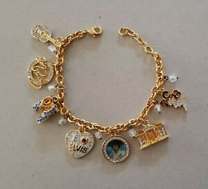 Elvis Showstopper Charm Bracelet 24k-Gold-Plated with Swarovski Crystal Bradford
