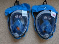 Blue TRIBORD Easybreath SNORKELING MASK FULL FACE,SNORKEL, DIVING) **Free P&P**