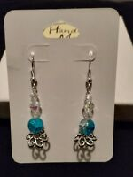 Intricate handmade calm sea blue and white glass bead earrings~ silver accents