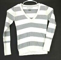 Aeropostale Women's XL Stretch V-Neck Striped Long Sleeve Sweater