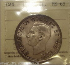 Canada George VI 1939 Silver Dollar - ICCS MS-65