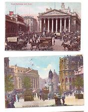 Mansion House Royal Exchange Bank London 2 Postcards  Postmark Kilburn 06 Carver