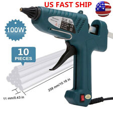 100W Glue Gun Electric Heating Hot Melt High Temperature + 10Pcs Glue Sticks US