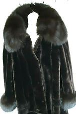 1990s Size M Long Brown Retro sheep mouton coat real fur sable cuffs and collar