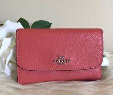 Coach Coral Pebble Medium Leather Envelop Fold Wallet