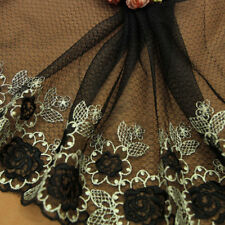Floral Embroidered Lace Edge Trim Fabric Tulle Mesh Craft Vintage Sew Net Black