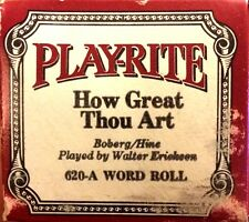 Play-Rite Word Roll HOW GREAT THOU ART Erickson 620-A Player Piano Roll