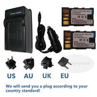 2X Battery+charger for JVC BN-VF808U VF808AC GZ-MG130 MG135 MG730 GR-D740