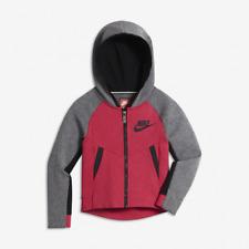 GIRLS NIKE TECH FLEECE FULL ZIP HOODIE SIZE 4-5 YEARS (104-110CM) GREY/ PINK