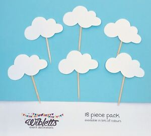 PAPER CUPCAKE CAKE TOPPERS WHITE FLUFFY CLOUD BABY SHOWER PLANES UP AND AWAY