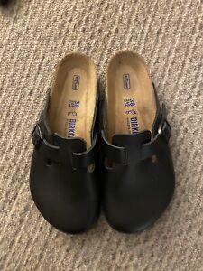 Birkenstock Boston Closed Toe Mule Clog Sandal Women's SZ 38 Black Leather