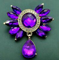 Gorgeous Royal Purple BOW Water Drop Tear Dangle Rhinestone Retro Vintage Brooch