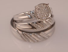 Men And Ladies Diamond Trio Set Wedding Engagement Rings  His And Her Jewelry