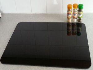 Black Smooth & Flat Float Glass Worktop Saver Extra Large -  60 x 40cm