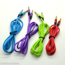 Colour Aux Cable Stereo Audio Extension 3.5mm Input Cord Male to Male 1m Sale