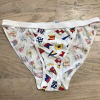 Vtg Kiss String Bikini Panty Made Hong Kong Flags Rayon Cotton Size 7 White