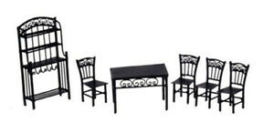 Dollhouse Miniature Half-Scale Dining Room Set in Black