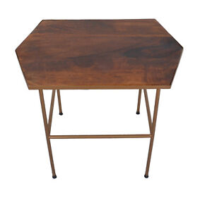 Indian Handmade Designer Top Wooden With Powder Coated Iron Stand Side Table