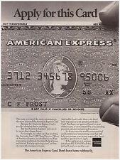 Original 1982 American Express Card Vintage Print Ad AmEx