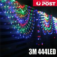 444LEDs Peacock Net Mesh Curtain Fairy String Light Xmas Party Outdoor Lamps