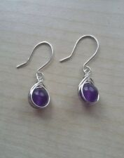 Russian amethyst semi precious gemstone sterling silver 925 handmade earrings