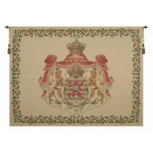 """LION CREST BEIGE LARGE EUROPEAN TAPESTRY WALL HANGING H 55"""" x W 75"""""""