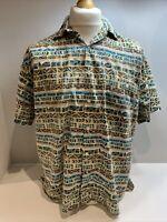 Mens Pinball Vintage Retro Patterned Short Sleeve Shirt Size Large