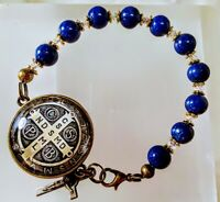 Beautiful Blue Lapis Bead Double Sided Benedict Cameo Rosary Bracelet Swarovski