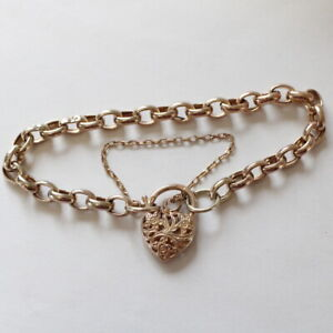 9ct Rose Gold Charm Bracelet with Filligree Heart Clasp 8.5g #305